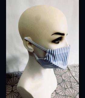 Masque protection tissu rayure bleu (lot de 4) élastique