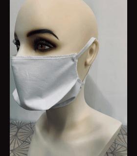 Masque protection avec élastique tissu blanc  (lot de 4)