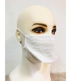 Masque tissu lavable blanc dentelle élastique
