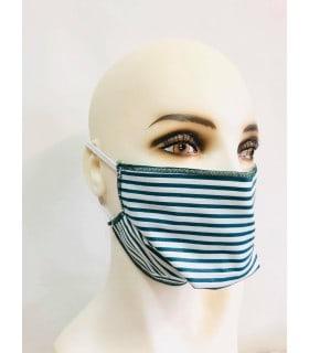 Masque protection tissu rayure verte (lot de 4) élastique