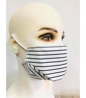 Masque protection tissu rayure noir (lot de 4) élastique