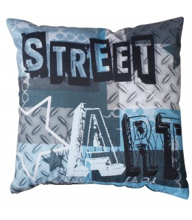 Coussin street art bleu