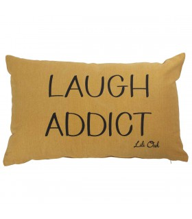 "Coussin déhoussable ""Laugh"" safran"