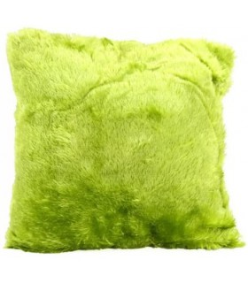 Coussin fausse fourrure vert anis