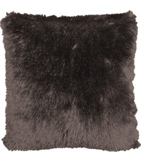 Coussin fausse fourrure taupe