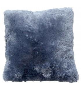 Coussin fausse fourrure bleu jean