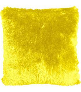 Coussin fausse fourrure jaune
