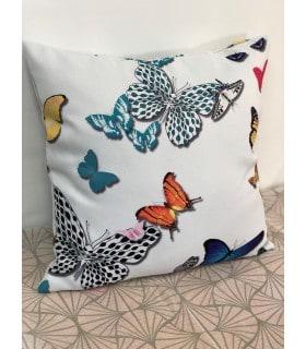 Housse de coussin motif papillon