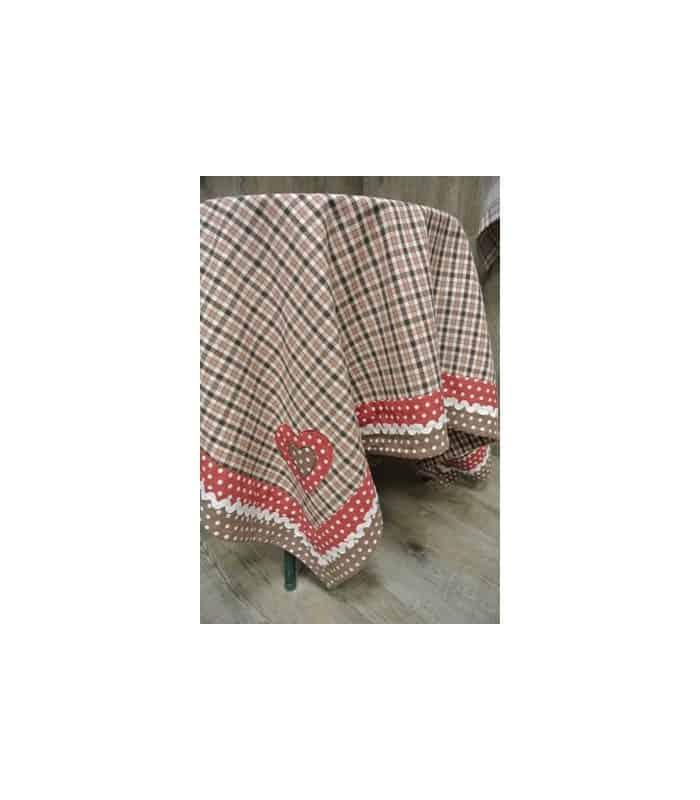 nappe carreaux et encadrement petits pois avec motif brod. Black Bedroom Furniture Sets. Home Design Ideas