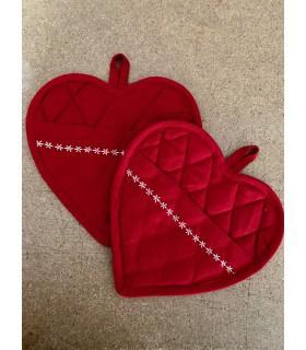 Maniques  coeur uni rouge x2
