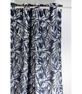 Rideau jacquard bleu motifs feuillages