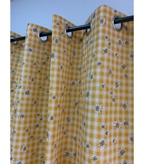 Rideau Montagne jaune à Carreaux Edelweiss