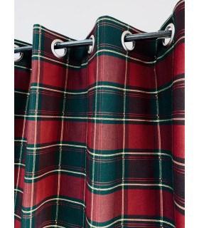 Rideaux écossais bordeaux et vert