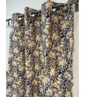 Rideau bleu fleuri style campagnard