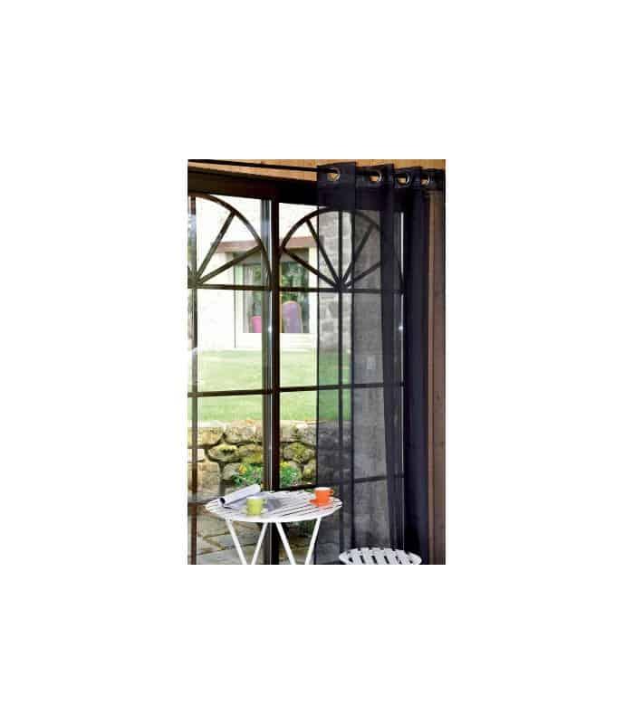 rideau voilage uni noir. Black Bedroom Furniture Sets. Home Design Ideas