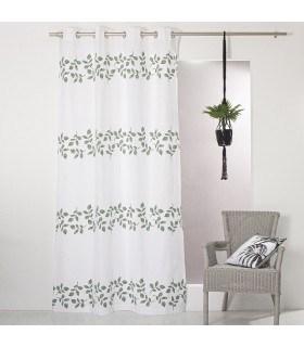 Rideau motif feuillage 100% coton