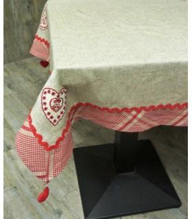 nappe tissage ancien avec 4 broderies coeur