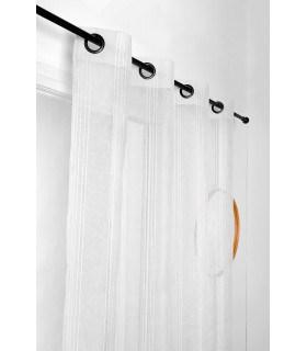 Voilage Blanc Rayures Verticales en 280x280cm