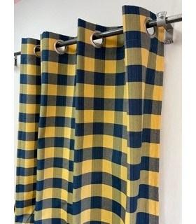 Rideau carreaux bleu et jaune