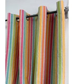 Rideau rayé multicolore 100 % coton