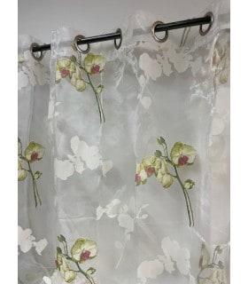Voilage blanc motif Orchidée
