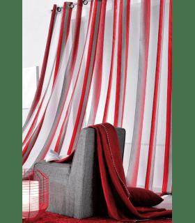 Rideau fantaisie rayé rouge et gris