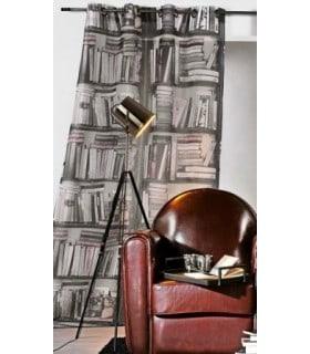 Rideau occultant contemporain motif bibliothèque