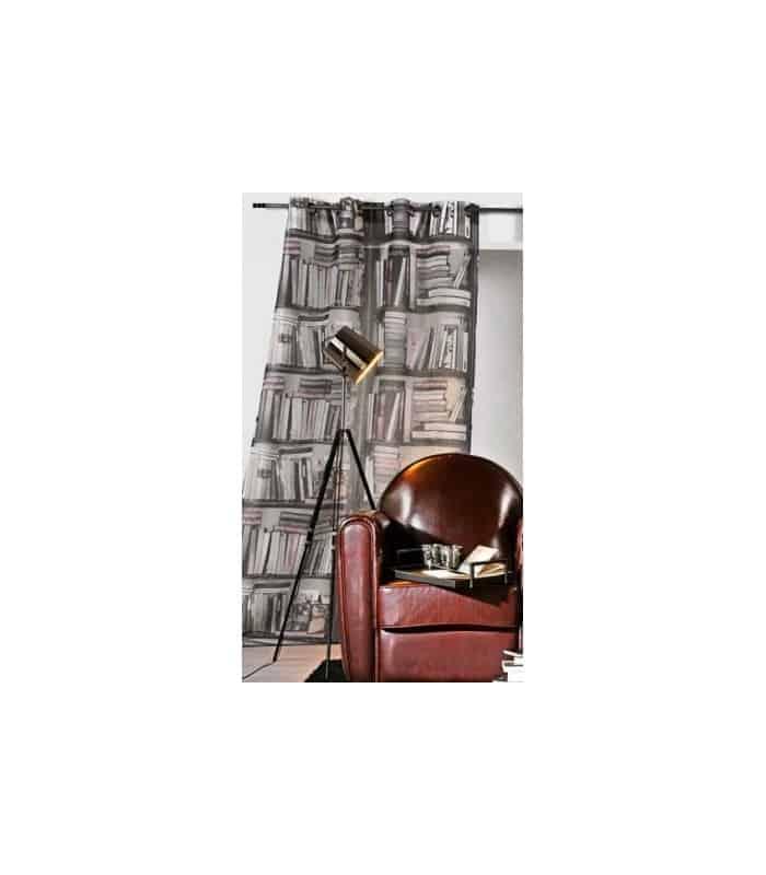 Rideau occultant contemporain motif biblioth que - Bibliotheque en solde ...
